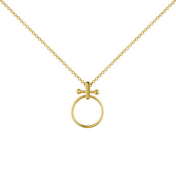 Large gold plated silver piercing bar hoop necklace, J04330-02, hi-res