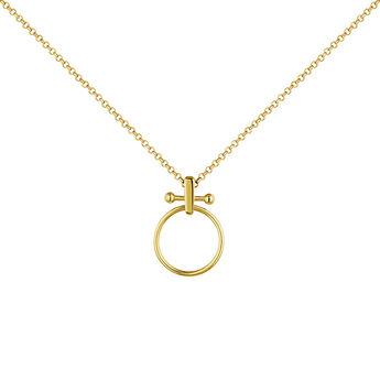Collier grand cercle barre piercing argent plaqué or, J04330-02, hi-res