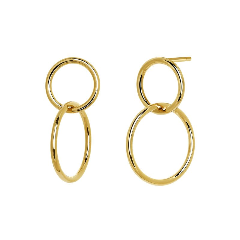 Small gold plated double hoop earrings, J03587-02, hi-res