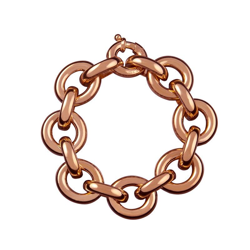 Rose gold flat rolo link bracelet, J00044-03, hi-res