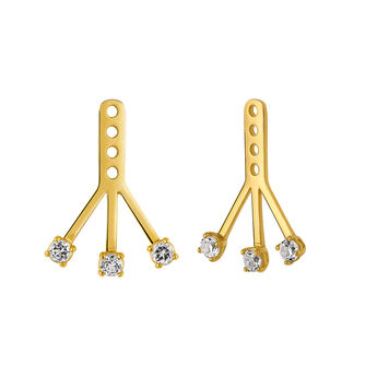 Gold jackets with white topaz, J03334-02-WT-J, hi-res