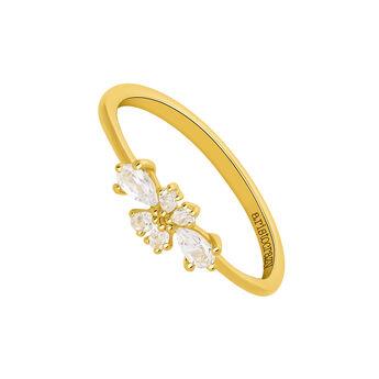 Gold topaz flower ring, J03558-02-WT, hi-res