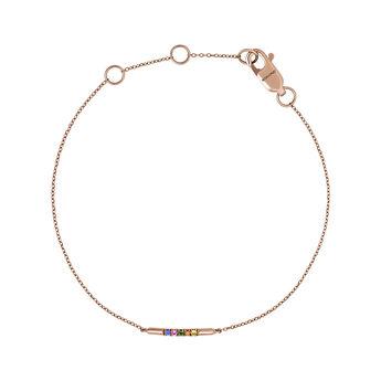 Bracelet motifs saphirs multicolores et tsavorite or rose, J04354-03-MULTI, hi-res