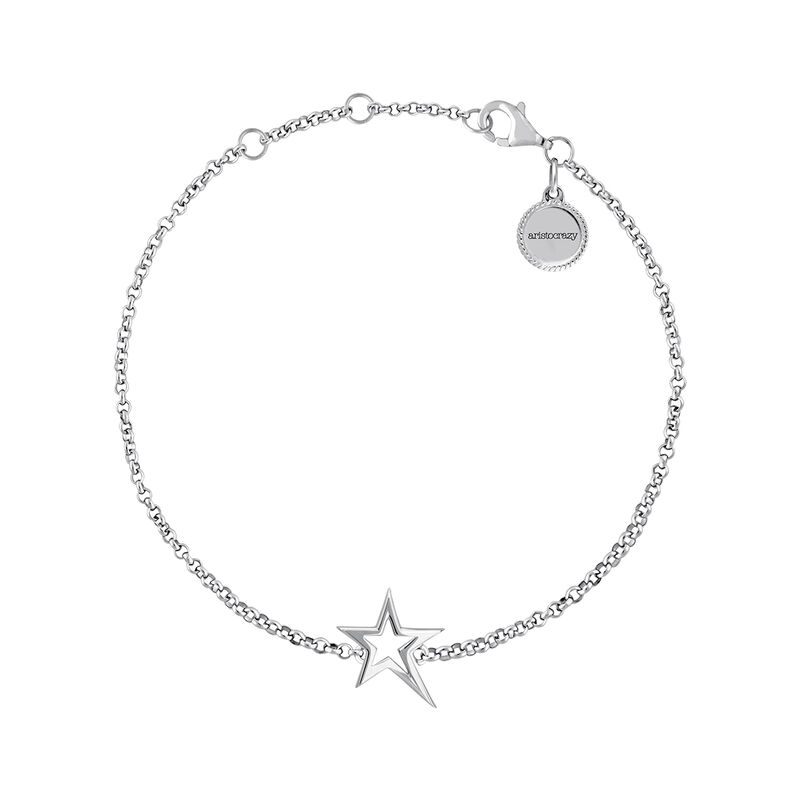 Silver hollow asymmetric star bracelet, J03792-01, hi-res