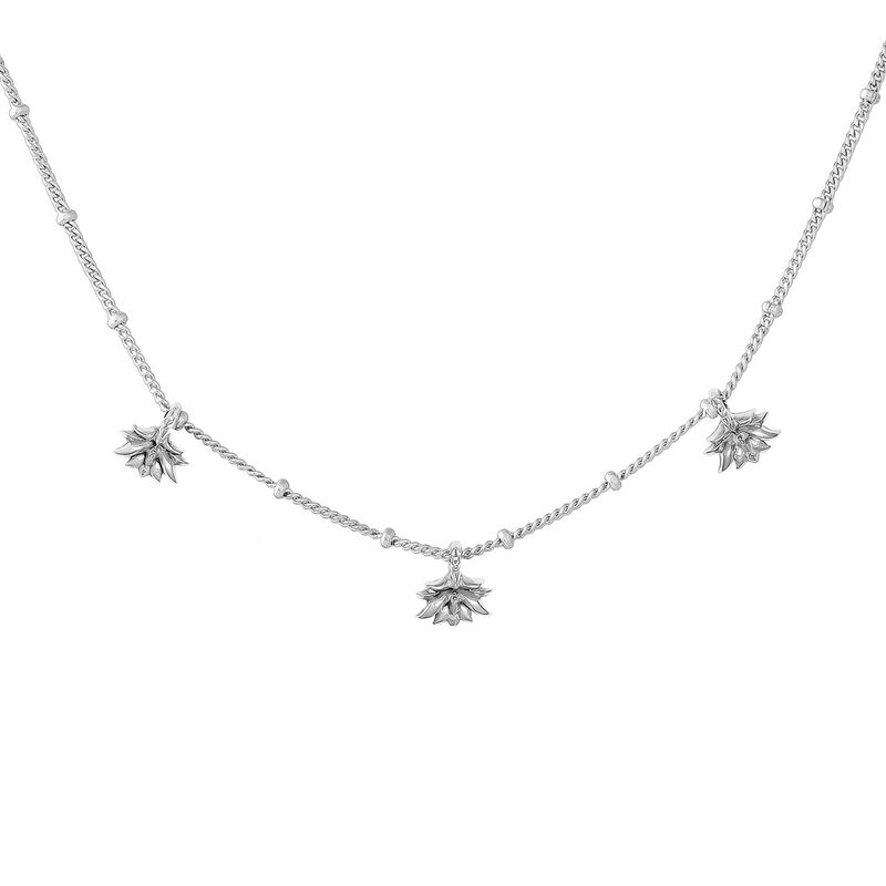 Silver lotus flower pendant motifs necklace, J04590-01, hi-res