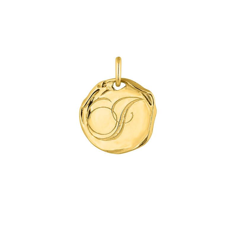 Pendentif médaille initiale J en argent plaqué or, J04641-02-J, hi-res