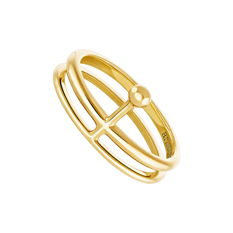 Gold double ring with sphere, J04021-02, hi-res