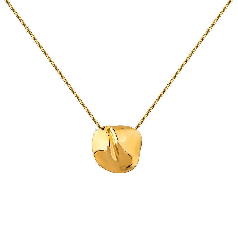Gold plated petal motif necklace, J04386-02, hi-res