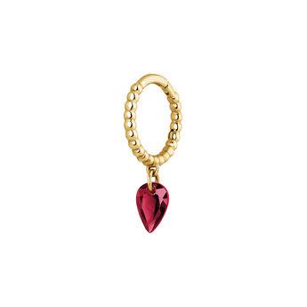 Hoop earring balls ruby in gold, J04076-02-RU-H, hi-res