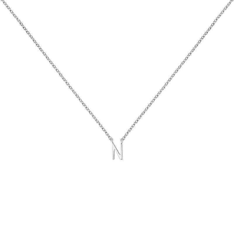Collier iniciale N or blanc, J04382-01-N, hi-res