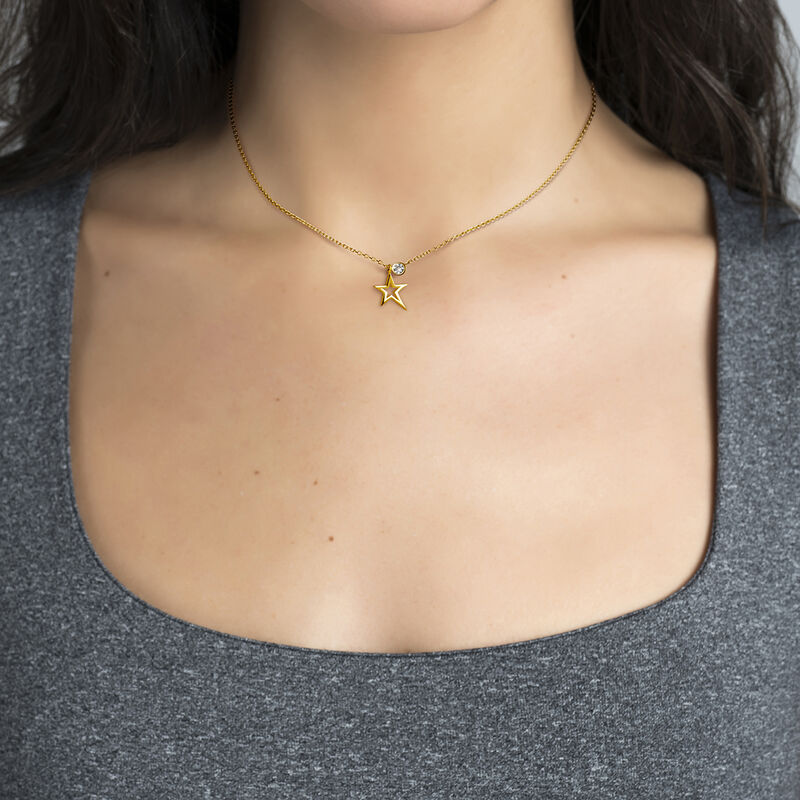 Gold plated hollow asymmetric star necklace, J03975-02, hi-res