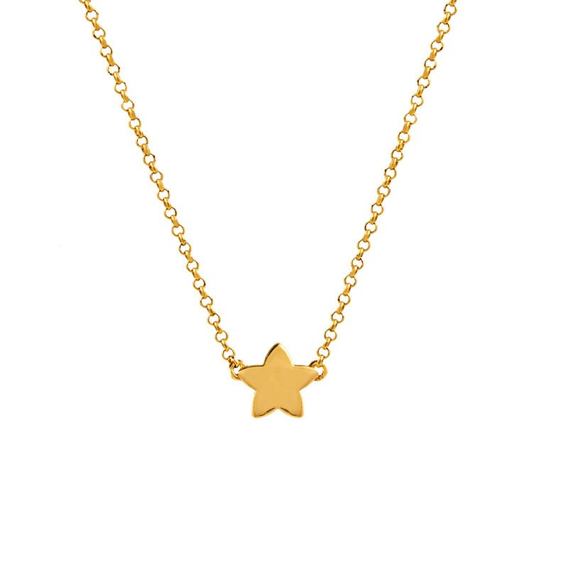 Gold plated star necklace, J01083-02, hi-res