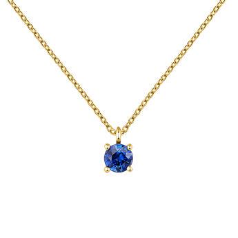 Necklace sapphire gold, J04084-02-BS, hi-res