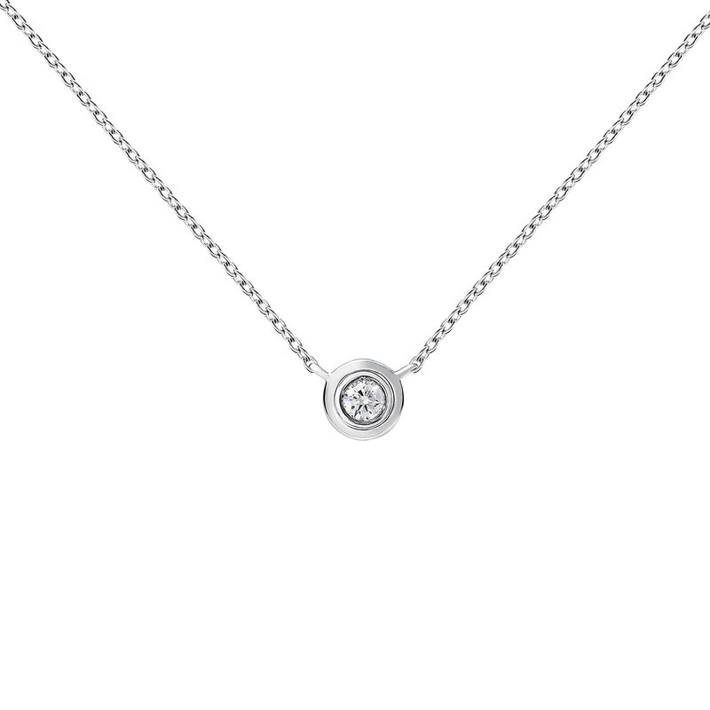 White gold double chaton necklace 0.03 ct, J03407-01-03-GVS, hi-res