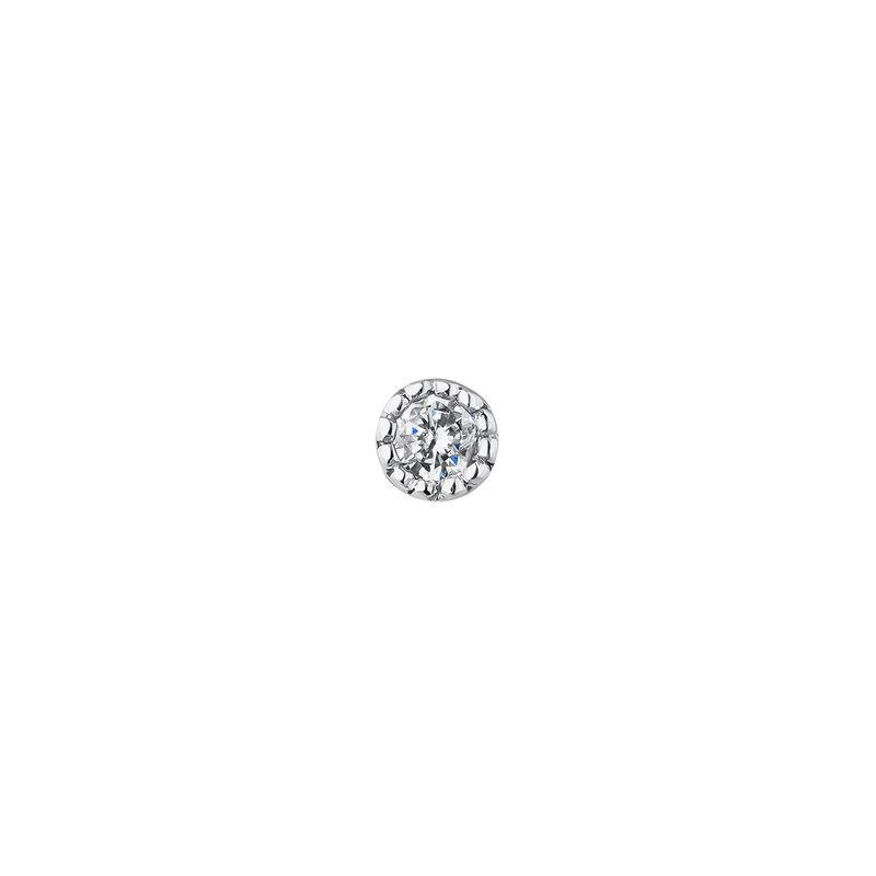 Mini boucle d'oreille piercing diamant 0.014 ct or blanc, J04289-01-H-S, hi-res