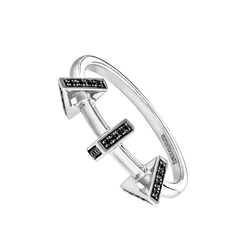Silver triangle ring with spinels, J03968-01-BSN, hi-res