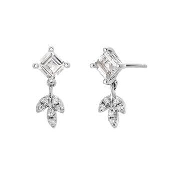 Boucles d'oreilles topaze et diamants avec pendentif feuille argent, J03714-01-WT-GD, hi-res