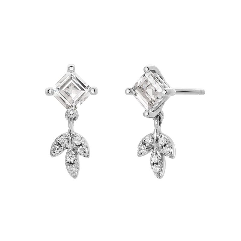 Topaz and diamonds earrings with silver leaf drop, J03714-01-WT-GD, hi-res