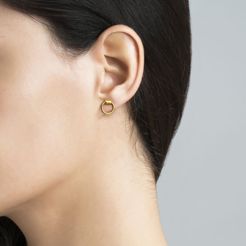 Gold double hoop mini earrings, J03491-02, hi-res