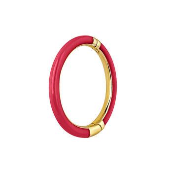 Pendiente aro grande esmalte rosa oro 9kt, J03844-02-H-PKENA, hi-res