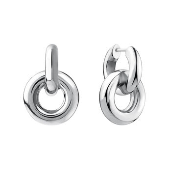 Thick silver double hoop earrings, J03655-01, hi-res