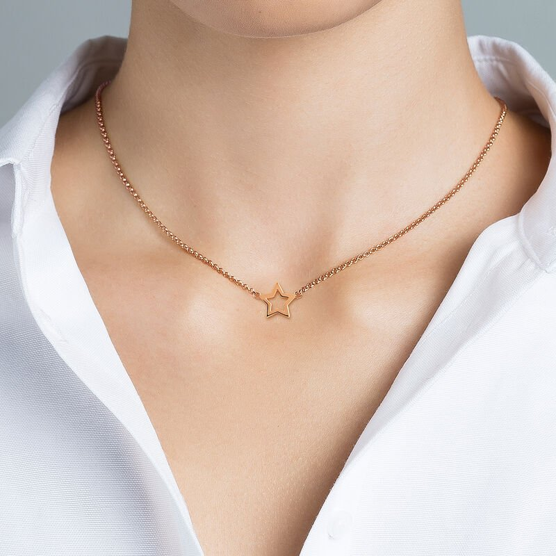 Rose gold plated hollow star necklace, J00659-03, hi-res