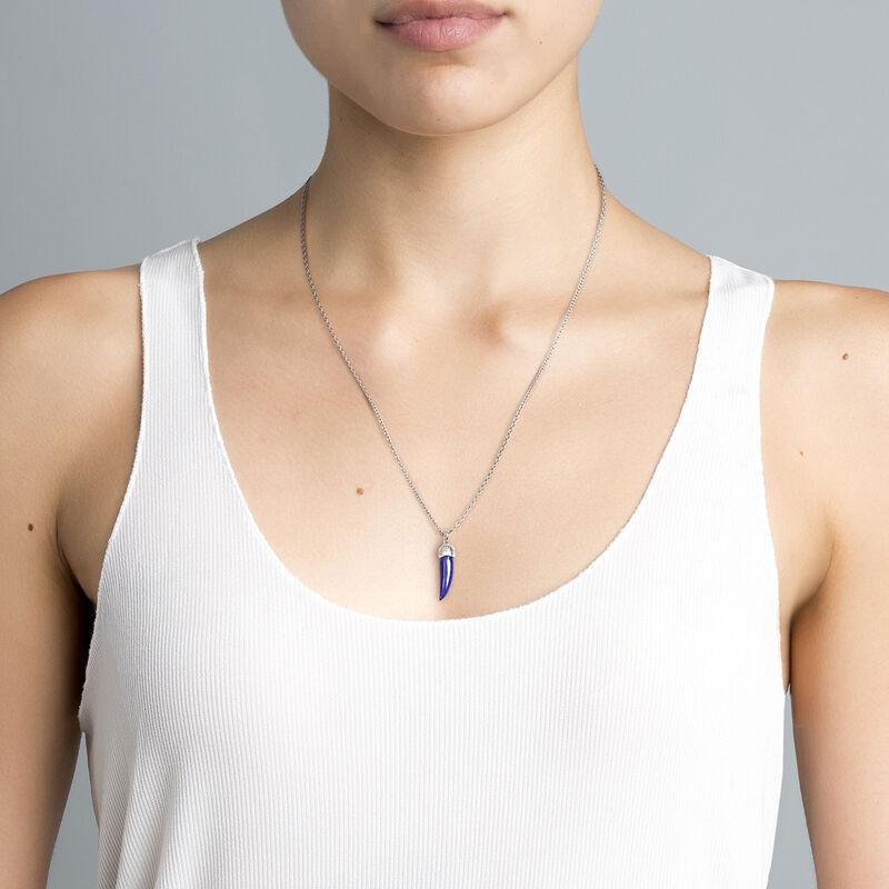 Silver lapislazuli horn necklace, J04389-01-LPS, hi-res