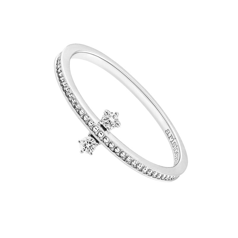 Bague double diamants or blanc 0,06 ct, J03343-01, hi-res