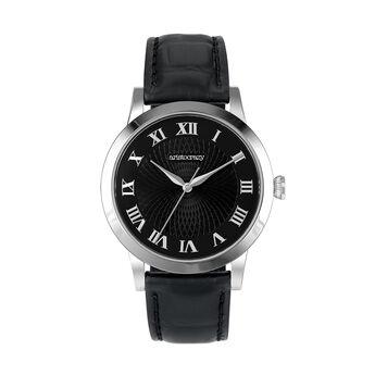 Montre Brera bracelet en cuir cadran noir, W44A-STSTBL-LEBL, hi-res