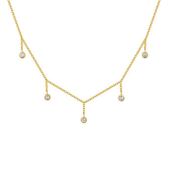 Gold plated silver topaz motifs necklace, J04681-02-WT, hi-res