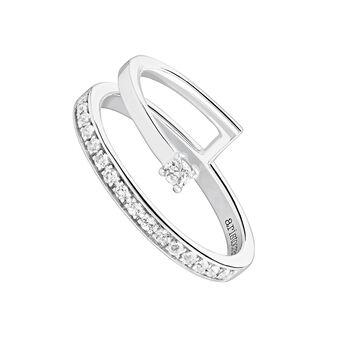 Silver pavé stone ring, J04034-01-WT, hi-res