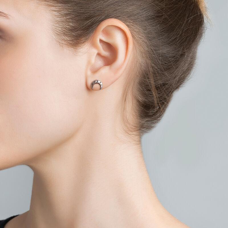 Silver moon stud earrings, J03464-01, hi-res