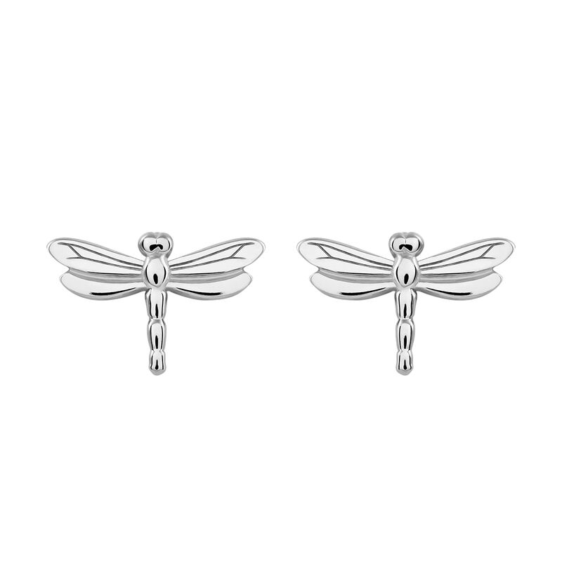 Silver dragonfly earrings, J03180-01, hi-res