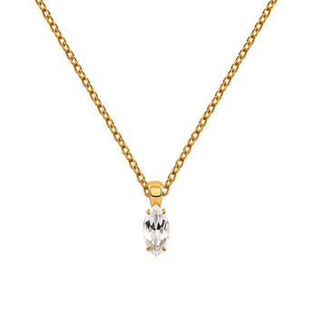 Gold plated necklace with white topaz, J03282-02-WT, hi-res
