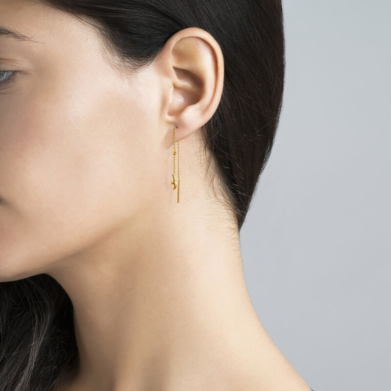 Gold plated bird and star motif earrings, J04609-02, hi-res