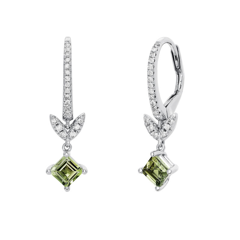 Silver Green Tourmaline Leaf Hoop Earrings, J03712-01-GTU, hi-res