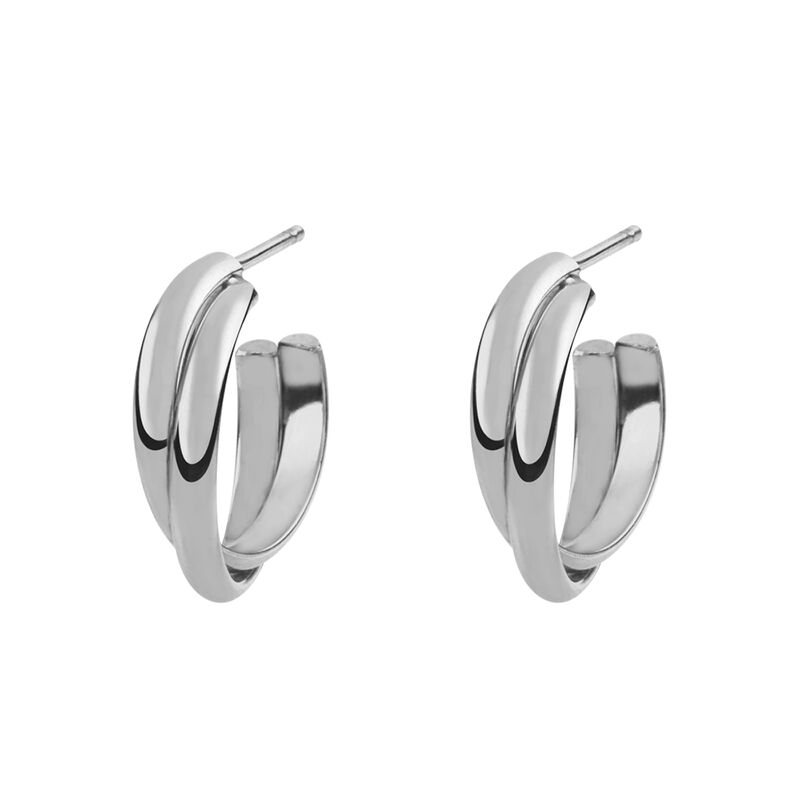 Silver cross double hoop earring, J01756-01, hi-res