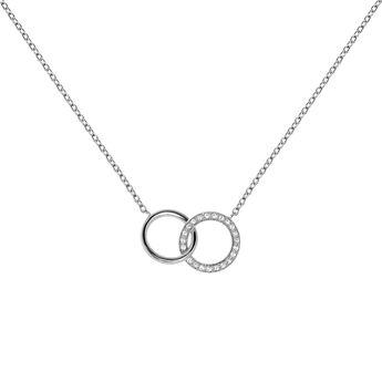 Collier double cercle topaze argent, J03667-01-WT, hi-res