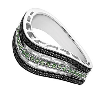 Silver stone curved ring, J03410-01-BN-TS, hi-res
