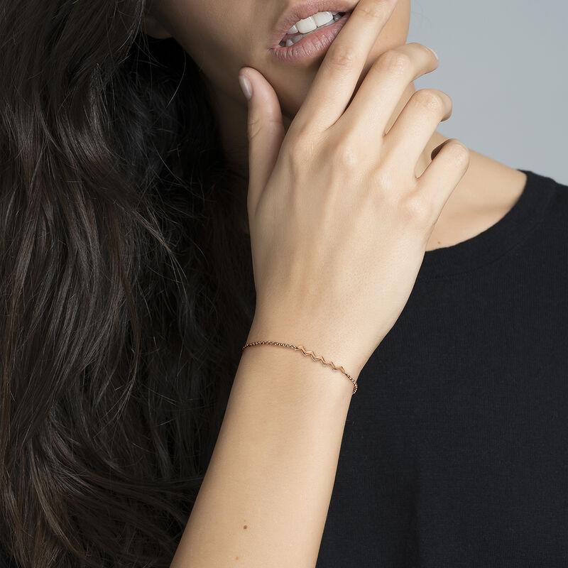 Rose gold zigzag bracelet, J03039-03, hi-res