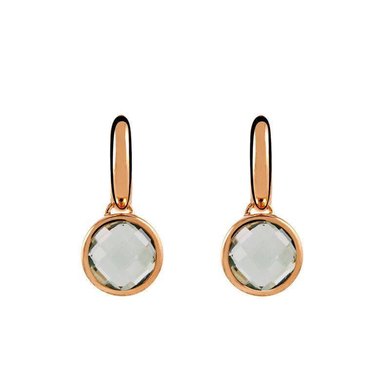 Pendientes aro grande cuarzo redondo plata recubierta oro rosa, J00970-03-GQ, hi-res