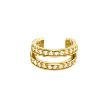 Piercing cartílago doble aro plata recubierta oro, J04085-02-WT, hi-res