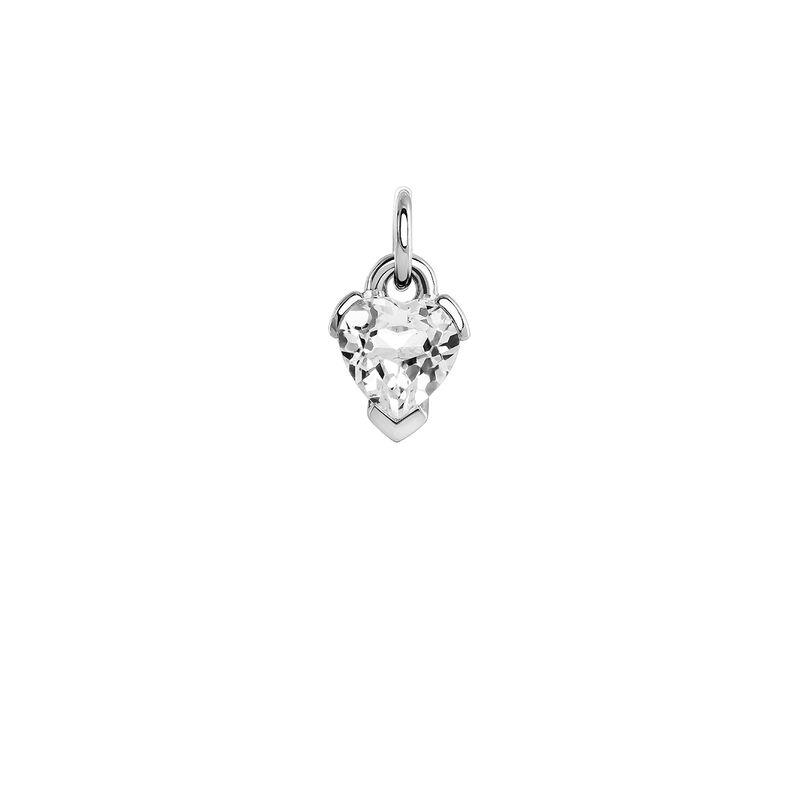 Heart topaz silver pendant, J04038-01-WT, hi-res