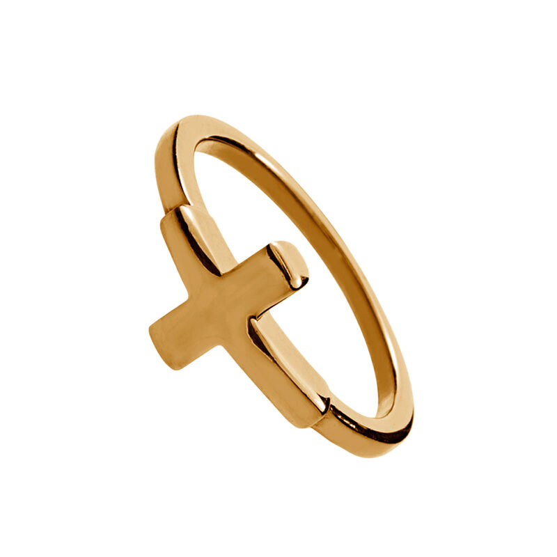 Rose gold cross ring, J00861-03, hi-res
