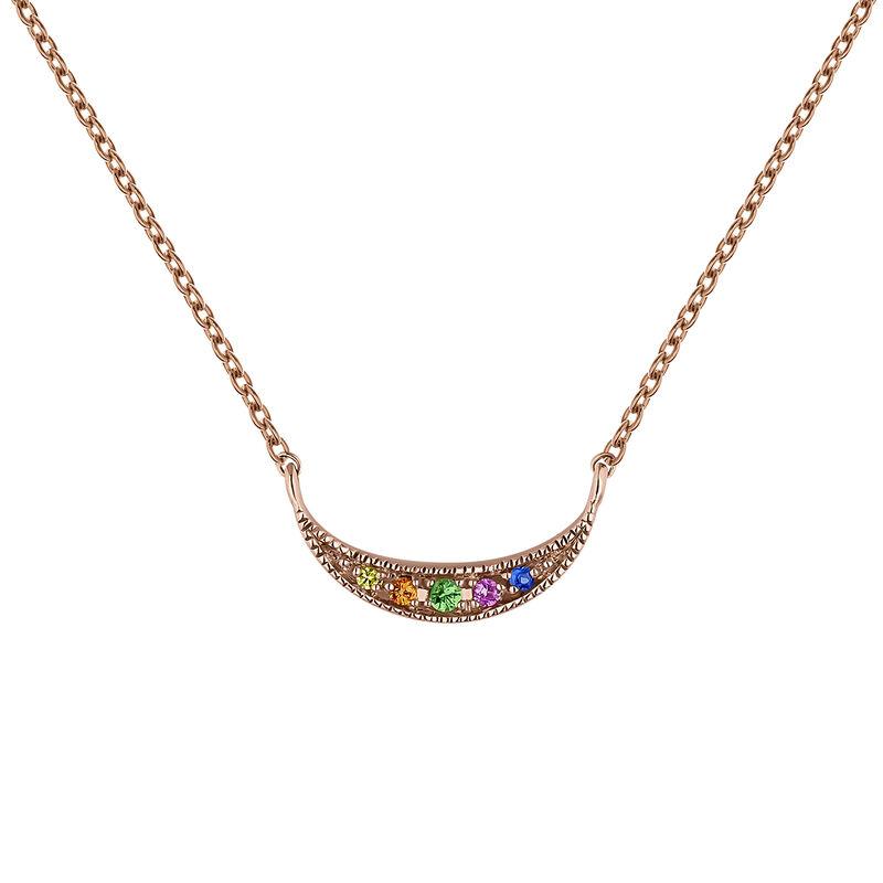 Rose gold multicolor sapphire and tsavorite crescent necklace , J04342-03-MULTI, hi-res
