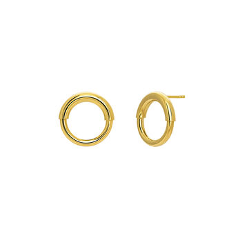 Small gold hoop earrings, J03651-02, hi-res