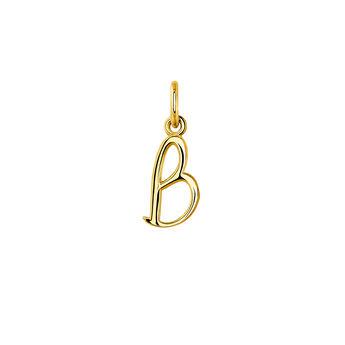 Pendentif lettre B argent plaqué or, J03932-02-B, hi-res