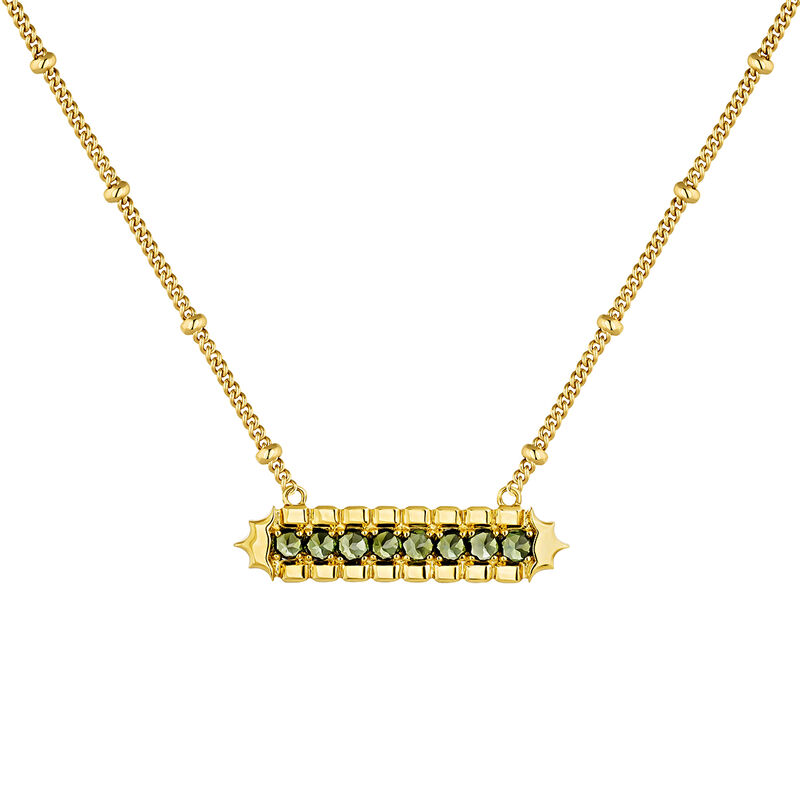 Green gold plated tourmaline rectangular necklace, J04275-02-GTU, hi-res