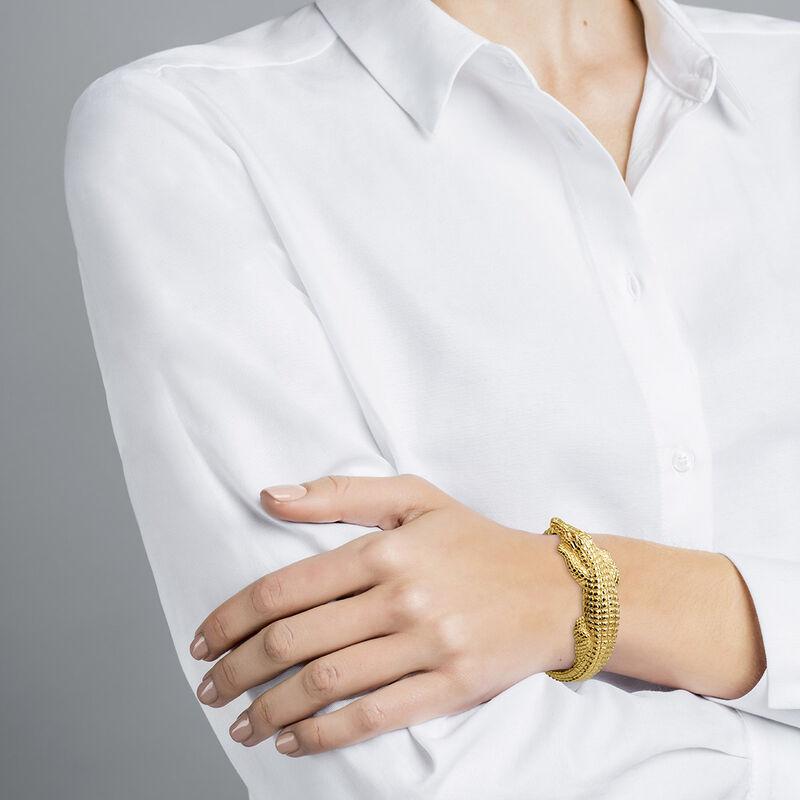 Thin gold plated crocodile bracelet, J03015-02, hi-res