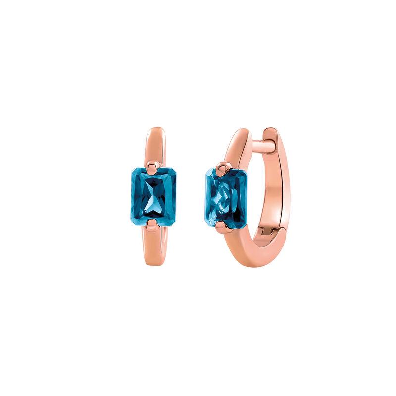 Pendientes aro mini topacio azul plata recubierta oro rosa, J03274-03-LB, hi-res